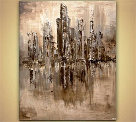 abstract art home decor cityscape painting cream brown abstract art home decor 7865