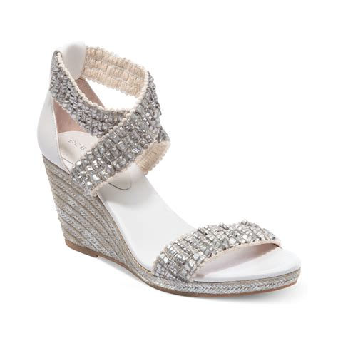 bcbgeneration barca platform wedge sandals in silver lyst