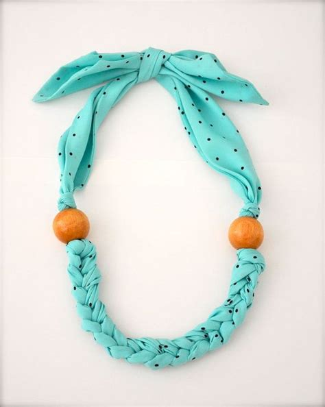 Nilam Scraf turquoise blue scarf necklace fabric statement necklace