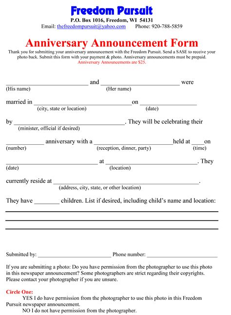 Wedding Anniversary Announcement by Announcement Forms Freedom Pursuit