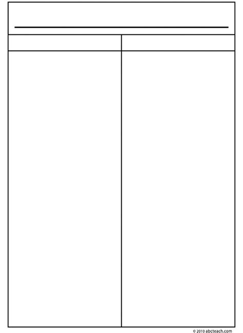 two column notes template blank 2 chart 252521 depiction