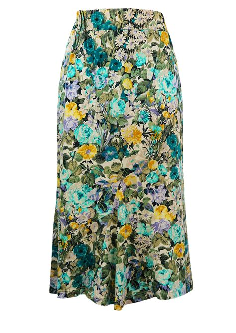 blue patterned midi skirt midi length floral patterned bias cut skirt in blue
