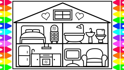 A House Coloring Page by How To Draw A Baby Doll House For Baby Doll House