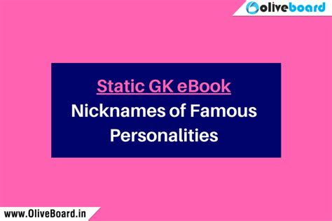 Government Exams For Mba by Free Static Gk Ebook Nicknames Of