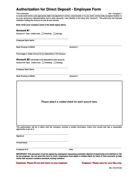 ach authorization form template payment direct deposit