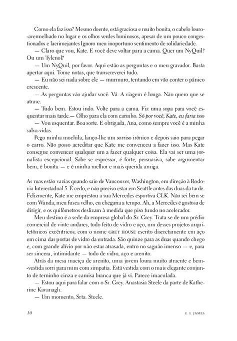 Primeiro capítulo do livro Cinquenta Tons de Cinza