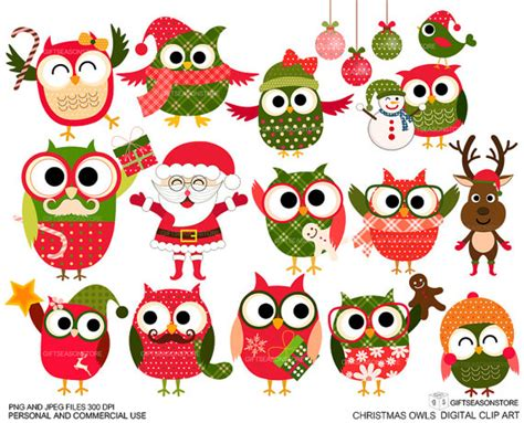 images of christmas owls christmas owls digital clip art for personal and commercial