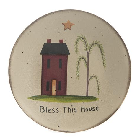house plate primitive wood quot bless this house quot plate decorative
