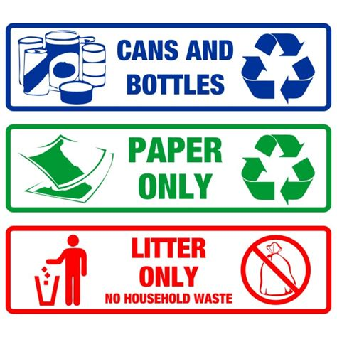 printable recycle stickers recycling receptacle decal set bc site service