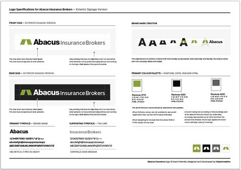 Abacus Insurance Logo Design Specification Sheet Brand Sheet Template