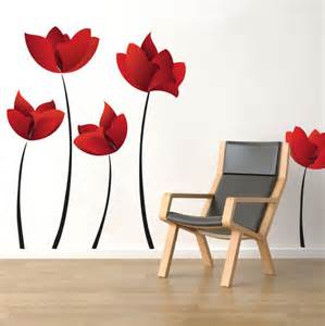 Large Flower Wall Stickers Large Flower Wall Decals Red Flower Wall Murals Floral Wall