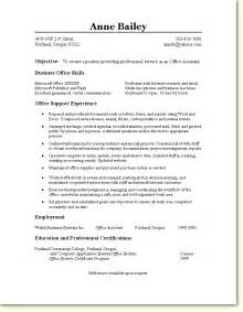 Resume Objective For Office Assistant skill based resume sle office assistant