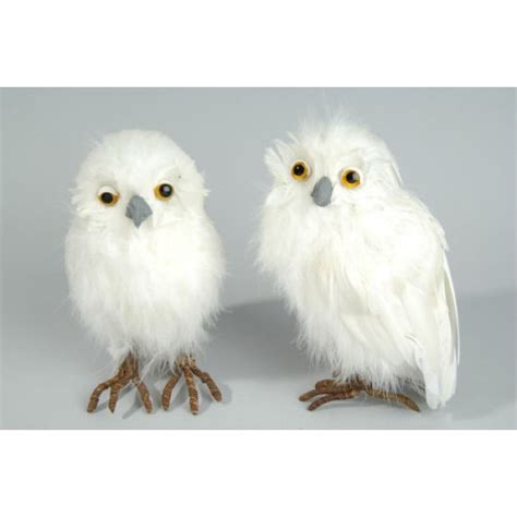 deco white feather snow owl decoration