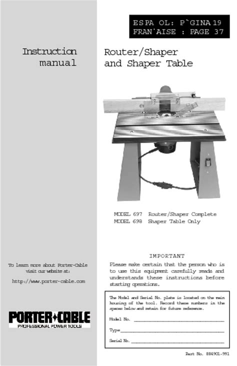 porter cable 890 motor only router users guides quot router quot page 5