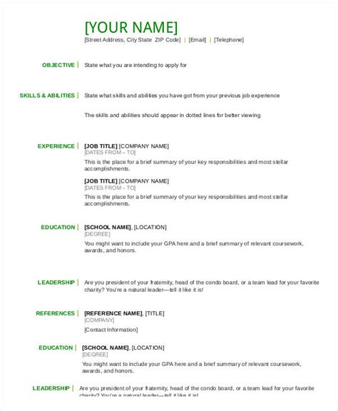 basic resume template pdf resume in word template 24 free word pdf documents