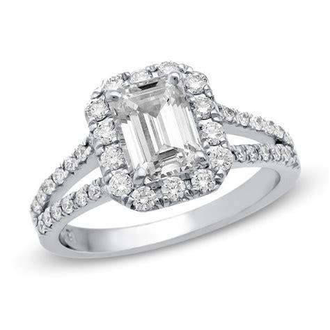 1 ct t w certified emerald cut diamond frame split shank