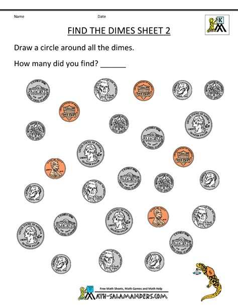 free kindergarten worksheets find the dimes 2 gif 800