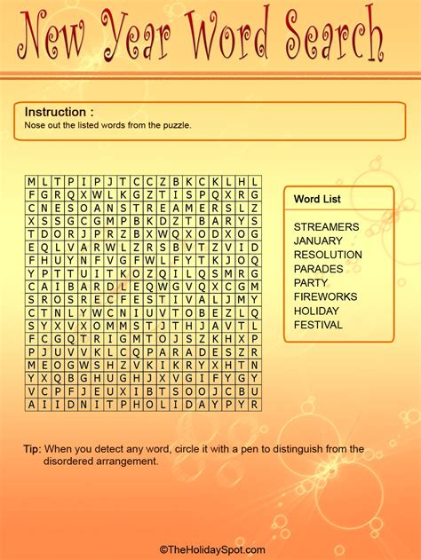 new year for search word new year color word search template