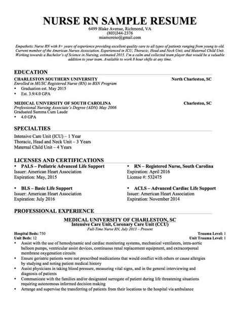 comprehensive resume sle for nurses best 25 nursing resume ideas on