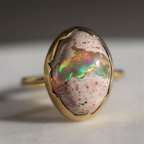 Annette Ferdinandsen Mexican Matrix Opal Gold Egg Ring