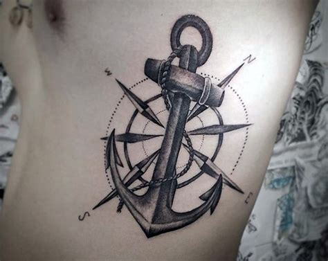 compass tattoo big big nautical themed anchor with compass tattoo on side