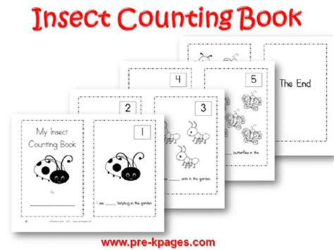 printable numbers book bugs and insects theme activities in preschool