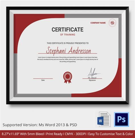 Training Certificate Template 21 Free Word Pdf Psd Format Download Free Premium Templates Course Completion Certificate Template