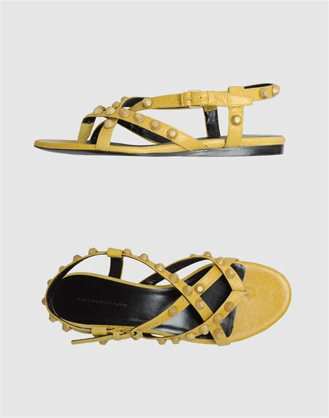 balenciaga flat sandals in yellow green lyst