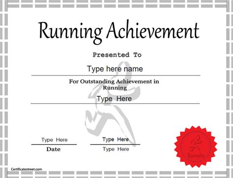 athletic certificate template sports certificates template for achievement in running