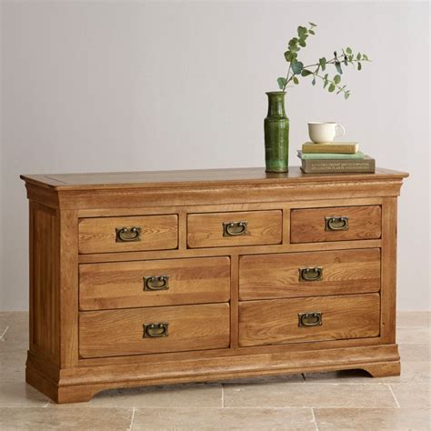 farmhouse 3 4 chest of drawers rustic solid oak