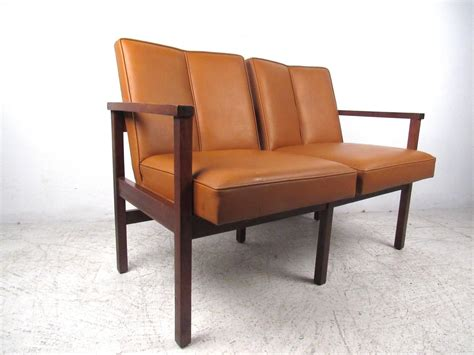 mid century modern settee mid century modern vinyl and walnut settee for sale at 1stdibs
