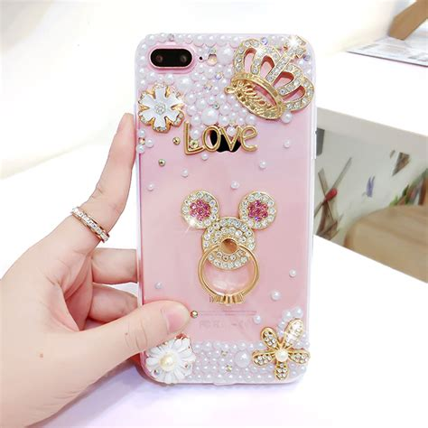 Iring Casing Hello Soft Iphone5 Iphone6 Iphone6plus luxury pearls soft silicone for iphone7 iphone 6 6s 7 8 plus tpu phone back finger