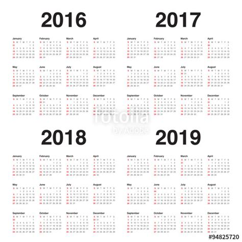 2016 To 2018 Calendar Quot Calendar 2016 2017 2018 2019 Quot Stock Image And Royalty