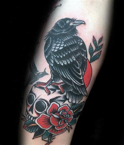 traditional crow tattoo traditional with