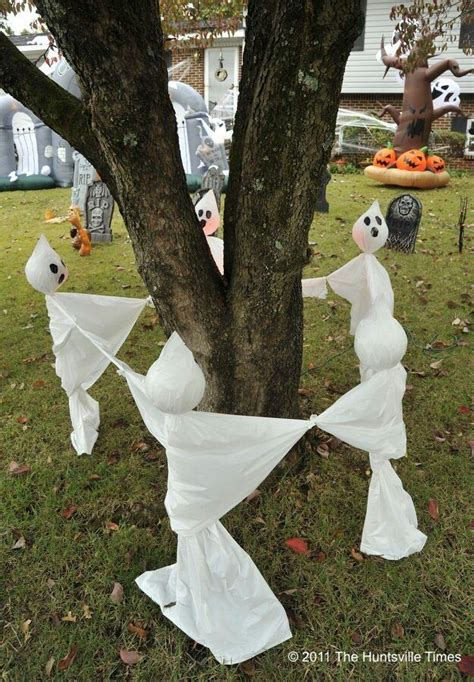homemade halloween party decorations diy halloween decorations yard ghosts ring around the