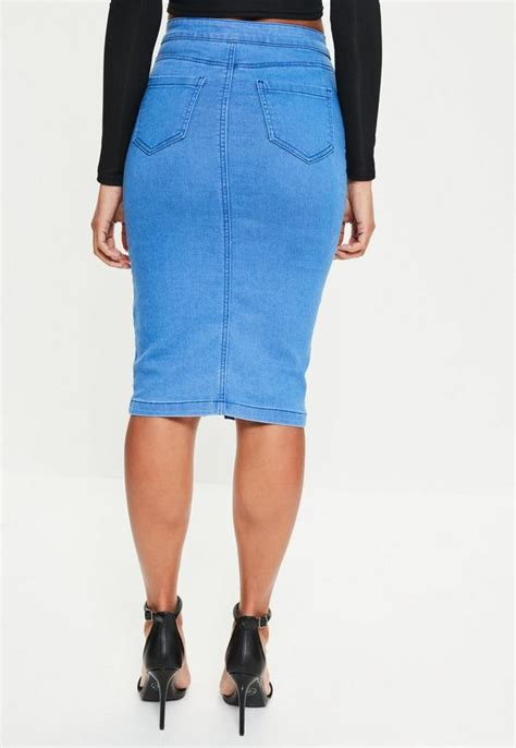 blue high waisted midi denim skirt missguided australia