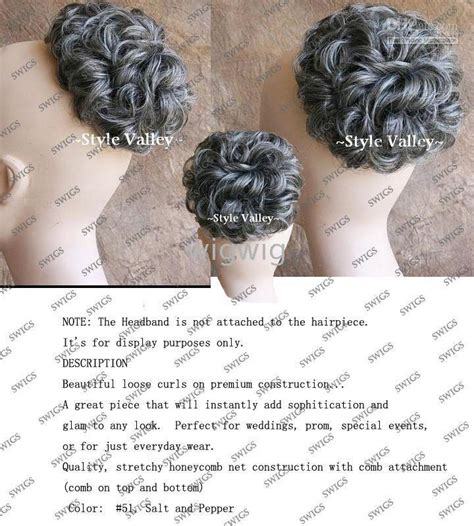 salt and pepper ponytails and hair pieces synthetic hairpiece salt pepper bun extension gray hair