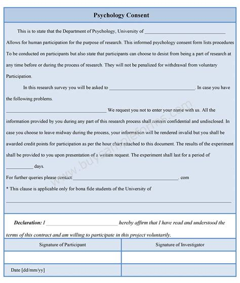 consent form psychology template psychology consent form