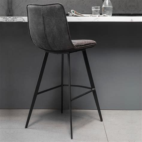 Grey Faux Leather Bar Stools by Gallery Palmer Grey Faux Leather Bar Stool 2 Pack Costco Uk