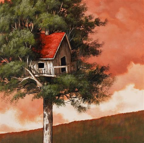 acrylic painting houses sunset tree house acrylic painting lesson tim gagnon