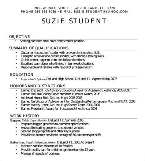 sles of resumes for highschool students sle high school resume template 6 free documents in