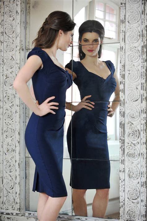 New Kitchen Trends nigella dress in navy blue bodycon dress as worn by
