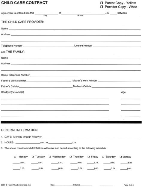 babysitting contract template home child care forms child care contract 1 child care