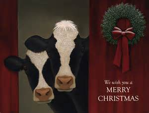 Holiday cows boxed christmas cards and more cow christmas cards at