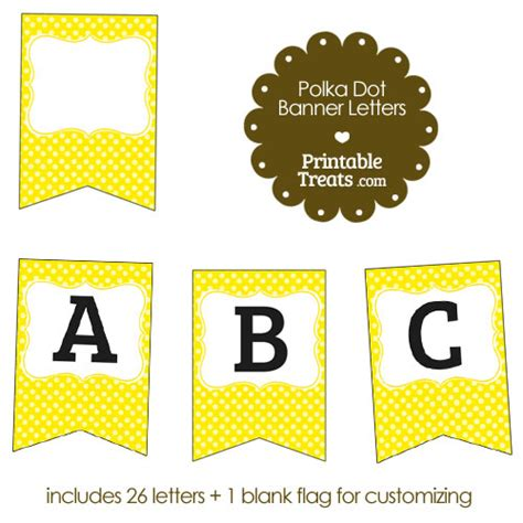 printable yellow letters yellow polka dot banner letters a m printable treats com