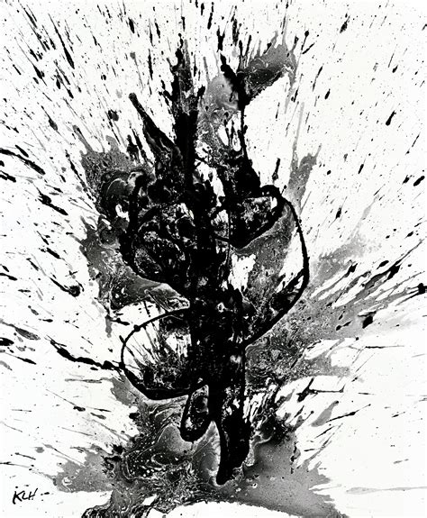 Original abstract black and white painting 1947 032814 modern art wall