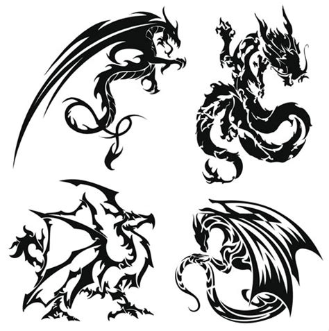 dragon tattoo vector free dragon tattoo set vector vector graphics blog