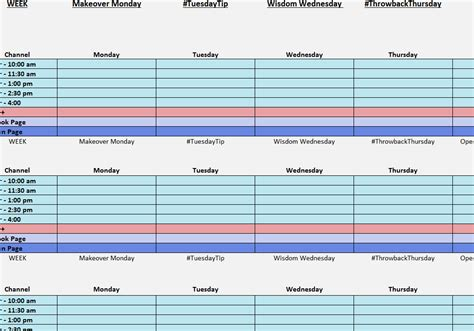 social media posting schedule template social media posting calendar my excel templates