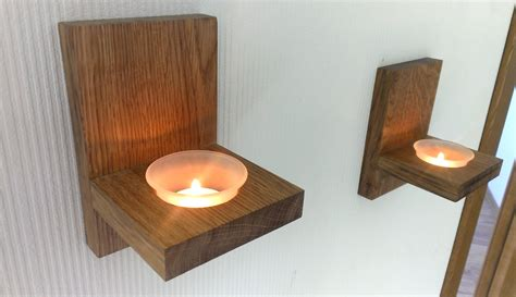 mounted candle holders modern wall mount tea light candle holder oak candle holder