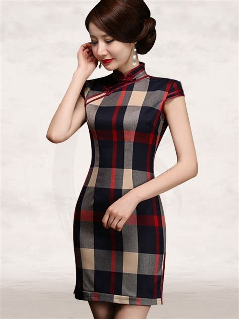 red black beige square short casual cheongsam dress